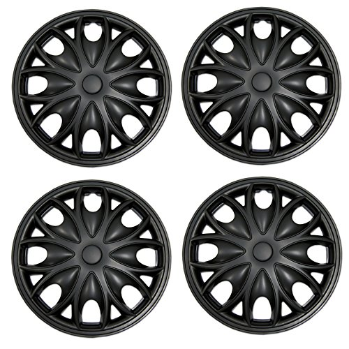 Tuningpros WC-15-3526-B - Pack of 4 Hubcaps - 15-Inches Style Snap-On (Pop-On) Type Matte Black Wheel Covers Hub-caps