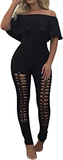 Women's Summer Casual Off Shoulder Long Lace up Jumpsuit Rompers