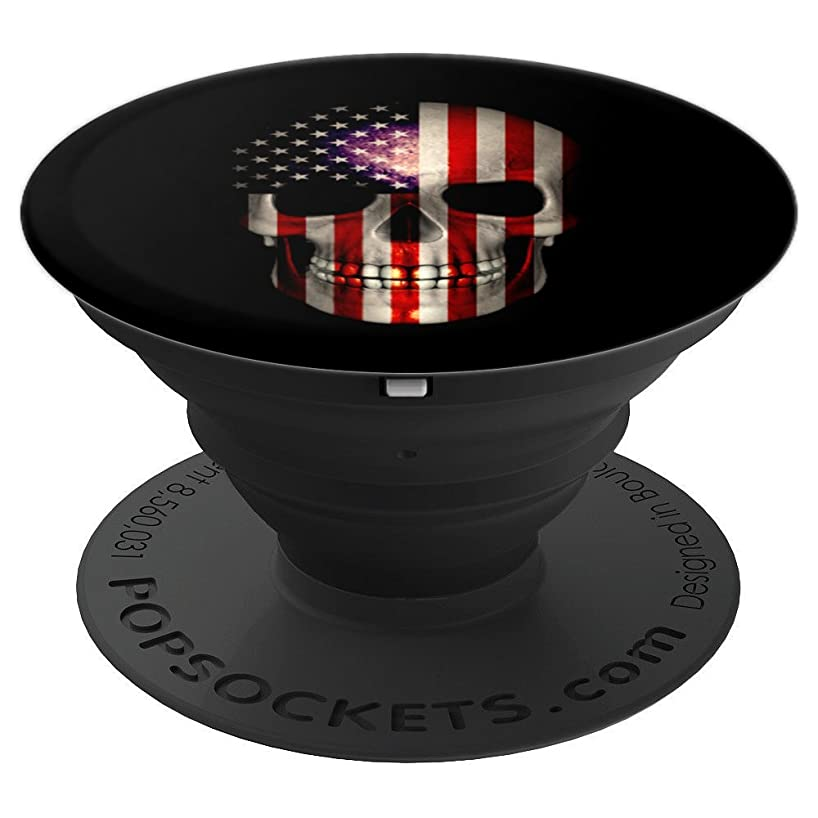 4th of July Gift for Men Dad Son American Flag Skull USA - PopSockets Grip and Stand for Phones and Tablets