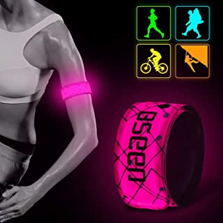BSEEN LED Armband LED Slap Bracelets, Adjustable Strap Safety Light Armbands Glow in The Dark Night Running Gear for Joggi...