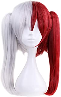 Angelaicos Unisex Long Wig Prestyled Cosplay Party Costume Synthetic Hair Wigs (Gray Red)