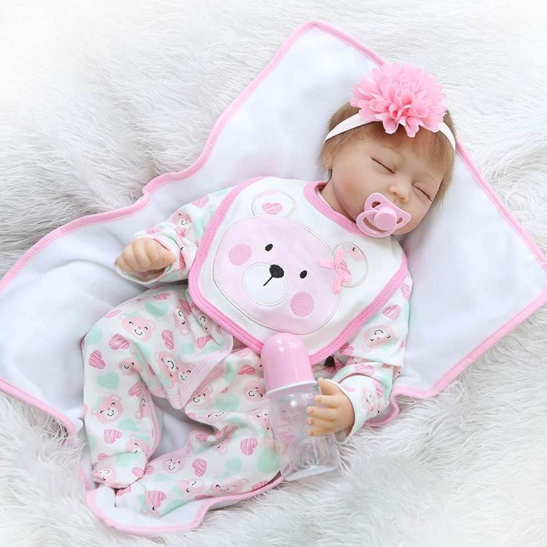 HOOMAI Lifelike 22 Inch Soft Silicone Vinyl Reborn Dolls Baby Sleeping Girl Real Looking Cotton Body Newborn Accessories Kids Playmate