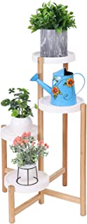 unho Tiered Plant Stands Indoor, Bamboo Plant Ladder Shelf 4 Potted Plant Shelf Tall Plant Rack Flower Display Stand for Indoor Outdoor Patio Garden
