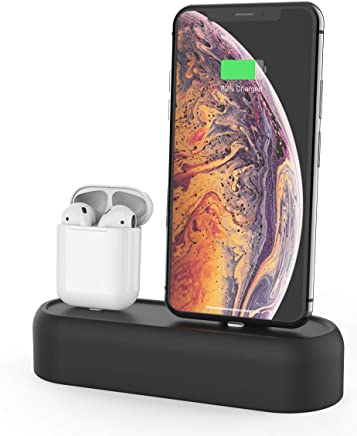 AhaStyle 2 in 1 Charging Stand Dock Silicone Compatible with Apple AirPods and iPhone Xs/XS Max/XR/X/8/8 Plus(Black)