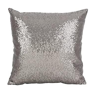 SARO LIFESTYLE Shimmering Sequin Design Poly Filled Throw Pillow, 18  x 18 , Pewter