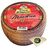 Queso García Baquero Maestría - Incluye Cuña Degustación Queso de Oveja Curado de REGALO - Queso Mezcla Curado Madurado Graso - Peso Aproximado 2,9 Kg - Elaborado con leche pasteurizada