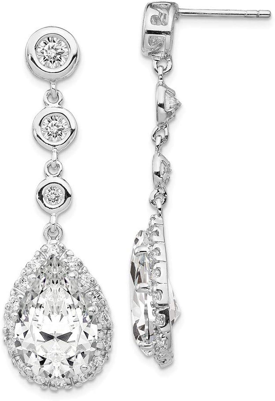 Beautiful Sterling silver 925 sterling Cheryl M Sterling Silver Rhod Plated Pear Shape CZ Dangle Post Earrings
