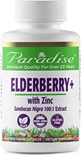 Paradise Herbs - Elderberry + Zinc, Herbal Extract 100:1, 60 Count