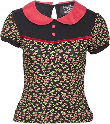 Küstenluder Damen Oberteil Alexia Kirschen Bubikragen Shirt Schwarz XL