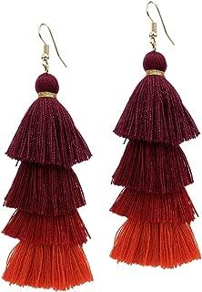 Tassel Earrings Tiered Thread Dangle Four Layered Drop Skirt Fringe Layer Silk for Fashion Jewelry Boho Bohemian Ethnic Handmade Gypsy Style