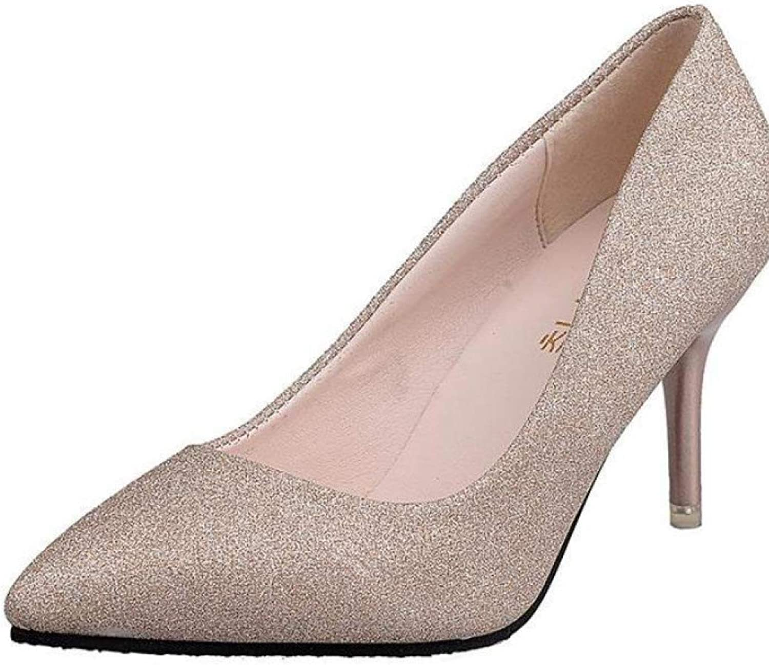 GanQuan2018 Women Glitter Kitten Heels,Closed Pointed Toe Slip on Sexy gold Silver Wedding Party shoes Pumps