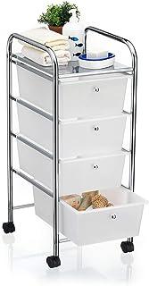 IDIMEX Caisson sur roulettes SANO Chariot avec 4 tiroirs en Plastique Blanc Transparent et 1 étagère, Meuble de Rangement ...