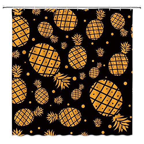 Golden Pineapple Shower Curtain Watercolor Ananas Dot On Simple Black Background Tropical Fruit Pattern Decor Summer Modern Creative Art Fabric