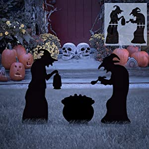 Ivenf Halloween Decorations Outdoor, 2 Witches Black Cauldron Silhouette Yard Signs with Stakes, Scary Family Home Front Yard Party Plastic Decor