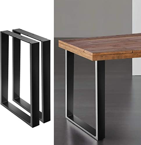 2 x Metal Table Legs 200kg Weight Supported Industrial Furniture Legs Black - 71(H) x 65(L) cm