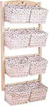 GuoWei Floating Wall-mounted Shelf Storage Display Wood Simple, 8 Cloth Baskets (Color : D, Size : 123X66CM)