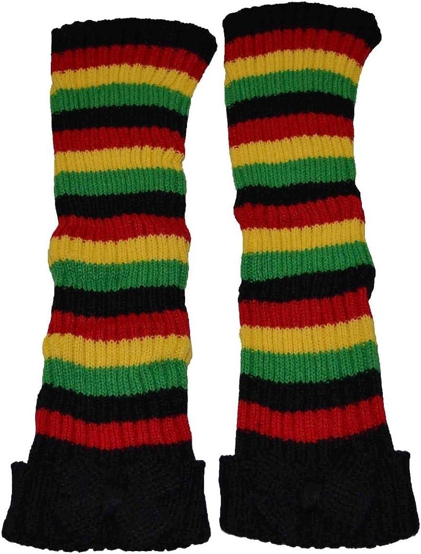 Nayt Women's Leg Warmer Rasta Black Red Yellow Green