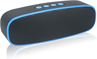 HUSAN Altavoz inalámbrico Bluetooth con ranura para tarjeta AUX/USB/TF, altavoz estéreo portátil para exteriores con audio FM HD, graves mejorados, controlador dual, llamadas con manos libres,