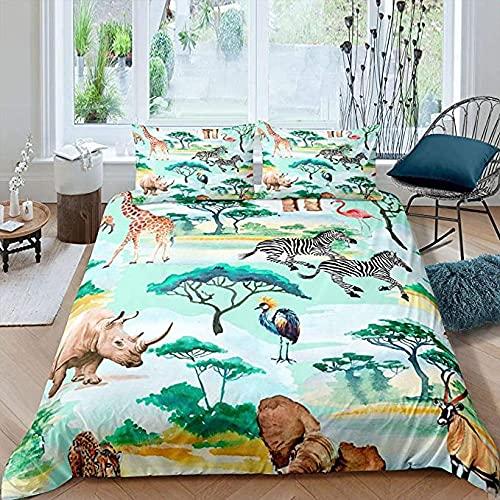 HSBZLH Home Textile-Bettwäsche Zebra Bettbezug GiraffeBettwäsche Set Für Kinder Jungen Mädchen Aquarell Safari Wildlife Tröster Abdeckung Zoo Tier Thema Design Tagesdecke