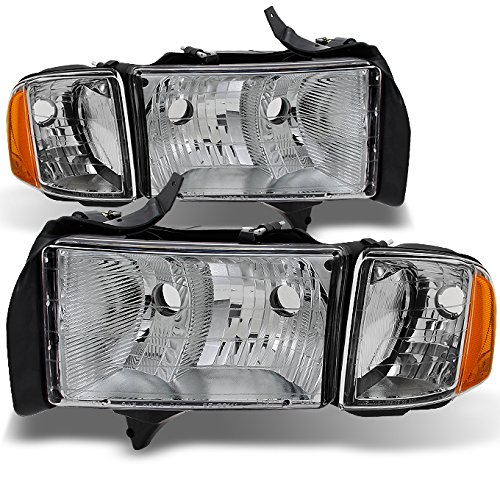 For Dodge Ram 1500 2500 3500 Pickup Truck Sport Package Clear Headlights Head Lamps Replacement Pair Set