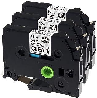 Airmall 透明 ピータッチ テープ12mm ブラザーTzeテープ ピータッチキューブ テープ TZe-131 互換品 tze 透明テープ黒文字 3個セット