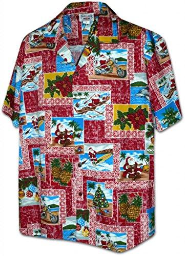 Pacific Legend Paradise Santa Christmas Hawaiian Shirts Red 3XL