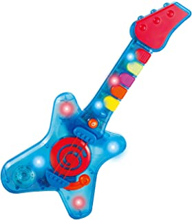 infunbebe Rock N Roll Guitar Little Rock Star Guitar, Electronic Musical Toy Instrument with Lights & Musics for Infant from 2 Years & Up