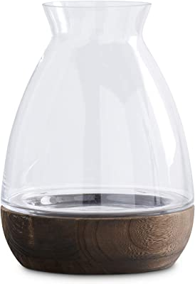 K&K Interiors 15305A-3 10.5 Inch Glass Vase with Wood Base