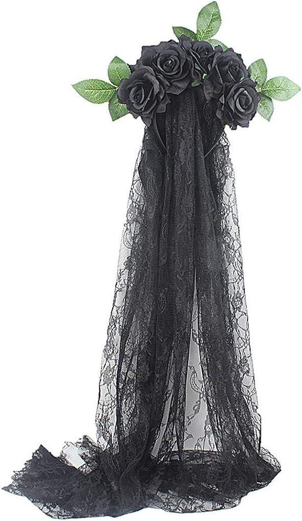 PURFUN Halloween Gothic Flower Garland with Black Veil Hairband Cosplay Wedding Headpiece Costume Headwear Accessory