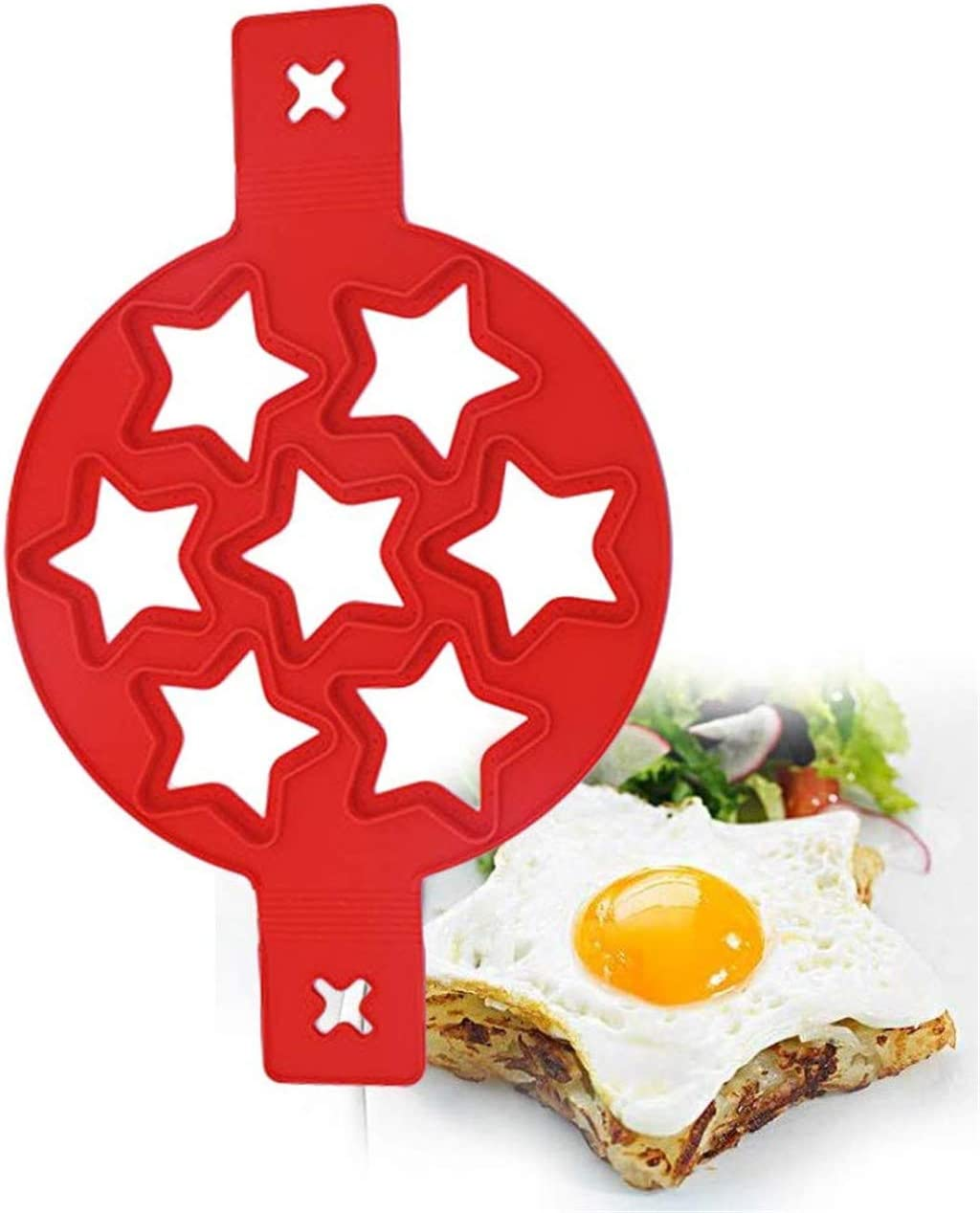 New Upgrade Silicone Omelette Mould Pancake Fried Egg Ring Mold 7 Holes Heart Reusable Non Stick Pancake Fried Egg Mold Red, Love Style