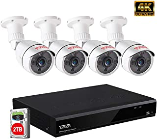 Tonton 5MP Home Security Camera System Outdoor,8-Channel Ultra HD 4K 8MP Video DVR with 2TB HDD,4PCS 5MP Outdoor Bullet Cameras,Smart Motion Detection&Alerts,Metal Housing,Easy Remote Access