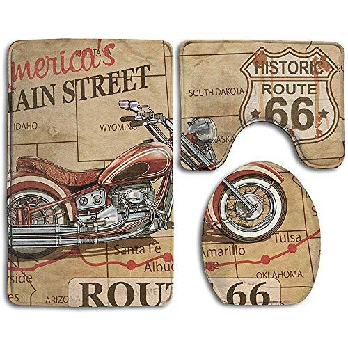 AEMAPE Vintage Route 66 Motorrad 3Pcs Badezimmer Teppich Set (Badematte Teppich + Deckel WC-Abdeckungen + WC-Sitzkissen)