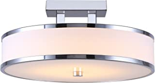 CANARM LFM101A13CH Foster Integrated LED Flush Mount with White Fabric Shade and Flat Opal Glass Diffuser, Chrome