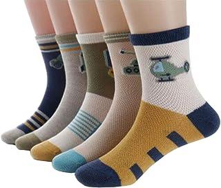 Calcetines de algodón multicolor, sin costuras, antideslizantes, finos, transpirables, para niños, niños pequeños, niñas, niñas, 5 pares, coche de guerra