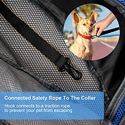 Pet Carrier Hand Free Sling Puppy Carry Bag Small Dog Cat Traverl Carrier with Breathable Mesh Pouch for Outdoor Travel Walking , Pet Supplies (blue) 3