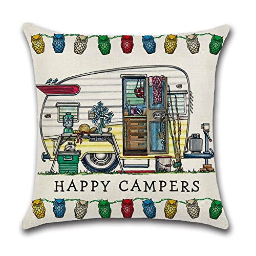 YANGYULU Cute RV Vintage Camper Travel Trailer Cotton Linen Home Decorative Throw Pillow Case Sofa Cushion Cover 18 x 18 (STYLY02)