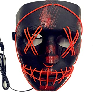 TGHCP- Light Up Glowing Mask Led Mask Illuminated EL Wire Mask for Halloween Festival Party