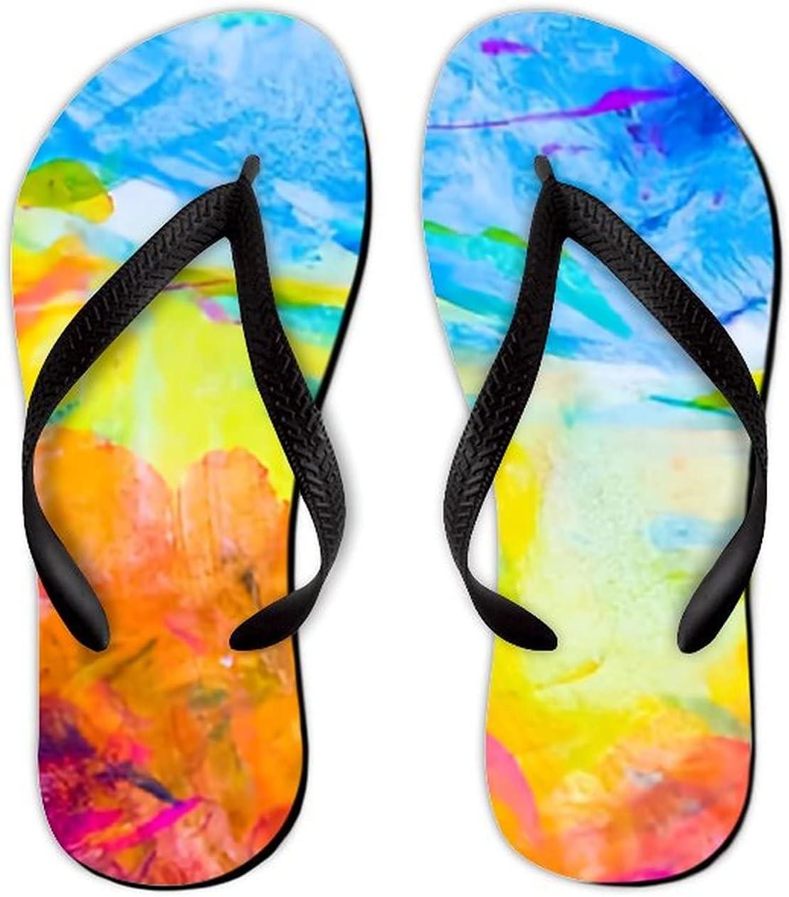 UTF4C Summer Flip Flops for Women Mesa Mall Men Backgr Watercolor Abstract Very popular!