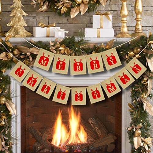 Merry Christmas Burlap Banner for Christmas Decorations Home Fireplace Wall Tree Decor Indoor Outdoor Xmas Party Photo Props 002C