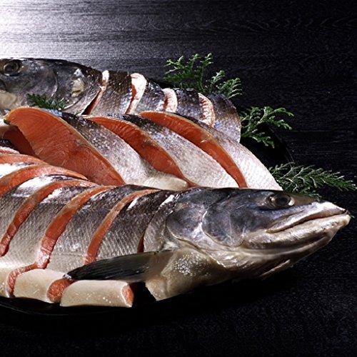 新巻鮭 姿切身 1尾 北海道産 北海道加工 天然秋鮭 切り身 贈答用 (4分割真空)