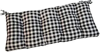 Resort Spa Home Decor Black Plaid/Country Checkered/Checkerboard Indoor Cotton Tufted Cushion with Ties for Bench, Swing, Glider - Choose Size (44
