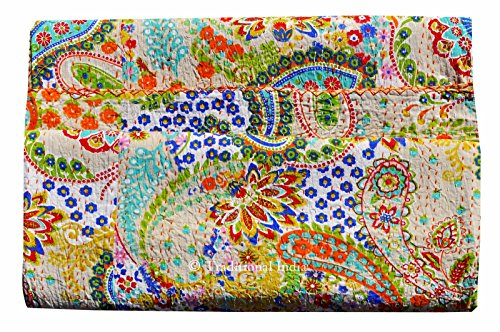 Sophia-Art Handmade Paisley Printed Kantha Quilt, Kantha Bedding, Indian Cotton Bedspread, Bohemian Kantha Throw, Floral Bed Cover (90x108)