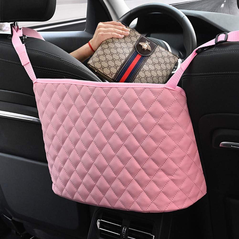 Pink/&Diamond Cayhuuso Car Net Pocket Handbag Holder car Organizer Leather Net Front Seat Storage Automotive Consoles /& Organizers Between Seats For Wallets Documents Phone Purse Handbag Holder