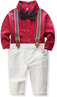 Xirybaby Baby Boys Gentleman Stripe Shirt Bowtie Suspender Pants Outfits Suits Toddlers Christmas Clothes