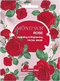 MOND'SUB Rose Hydrating and Brightening Face Sheet Mask, Pack of 1 x 20ml
