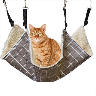 Geoleaps 猫 ハンモック キャットハンモック ケージ用 通気性優れ ふわふわ 暖かい 長さ調節可能 洗濯便利 中綿入り 秋冬用 耐荷重10kg 58x48cm