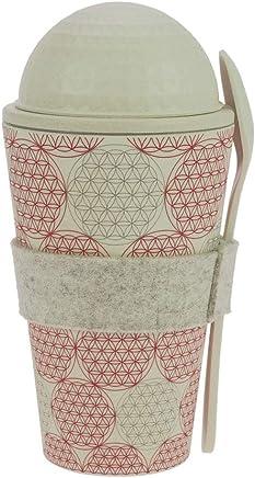 ebos Müsli-to-Go Becher aus Bambus | Müslibecher, Müslischale, Joghurtbecher | wiederverwendbar, umweltfreundlich, spülmaschinengeeignet, Verschiedene Designs (Blume des Lebens) preisvergleich bei geschirr-verleih.eu