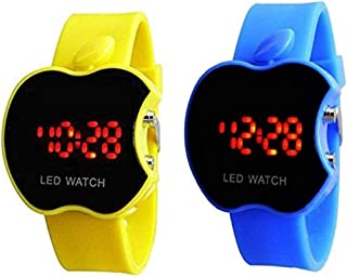 Swissrock Yellow and Blue Combo Apple Shape Kids Digital LED Wrist Watch