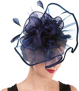 Fascinator Women's Organza Church Kentucky Derby British Bridal Tea Party Wedding Hat Summer Ruffles Cap
