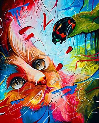 Kits de gato de color Pintura al óleo por números Figura Pintura acrílica Dibujo sobre lienzo Pintado a mano para adultos Juego de niños Decoración para el hogar A5 50x70cm